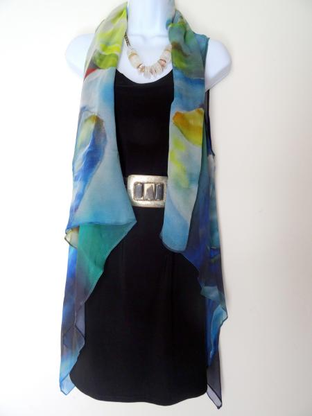 Abstract green & blue hues Sleeveless Duster/Vest/Poncho