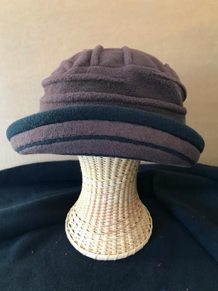 Brown brimmed winter hat