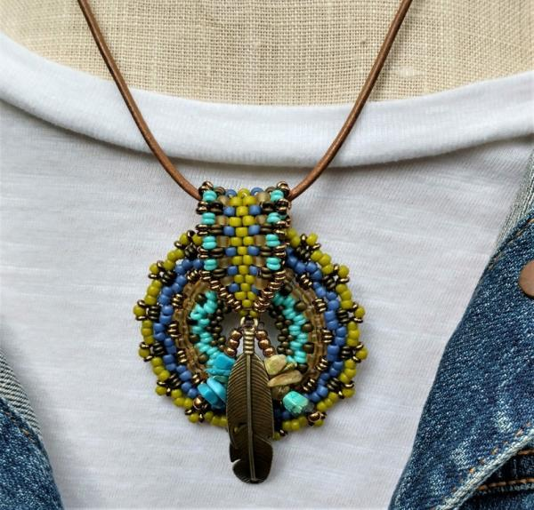 Hand Beaded Medallion with Beaded Bale Statement Necklace