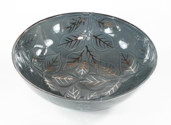 Water Etched Large Grey Serving Bowl picture