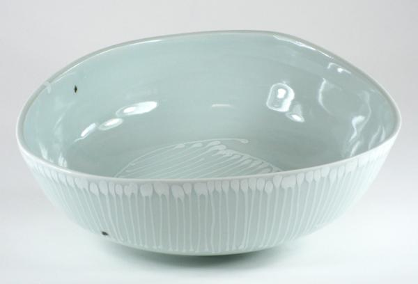 Small Triangular Striped Serving Bowl