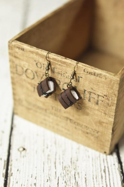 Brown Mini Leather Journal Earrings