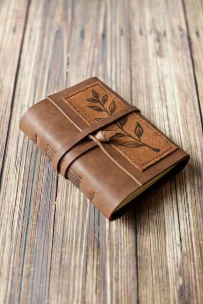 Leather Leaf Print Journal / Brown Leather Sketchbook