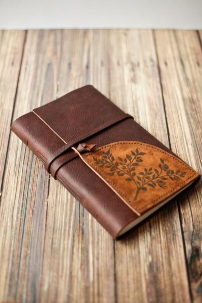 Large Leather Journal Sketchbook with Blueberry Plant Print