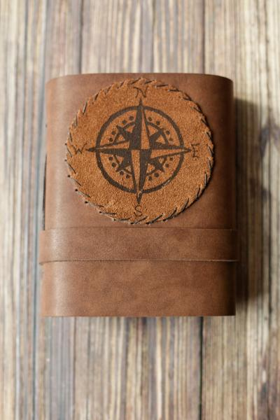 Leather Journal with Compass Design / Blank Cabin Guestbook picture