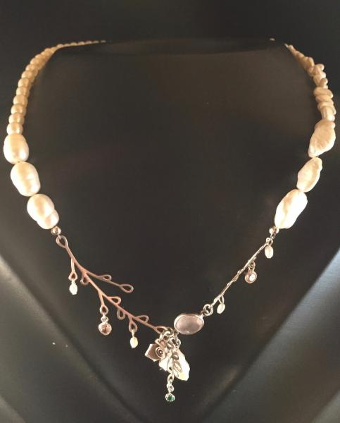 Silver Branch Drop Necklace with Pearls