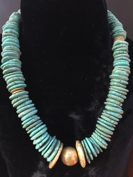 Afghanistan Turquoise and African Brass Necklace