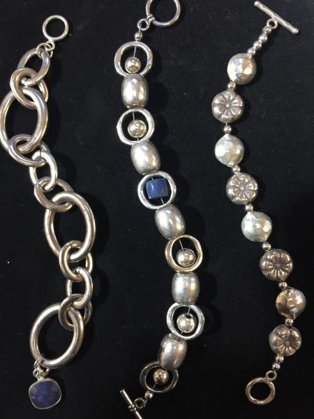 Silver, Rhodium, and mixed Metal Bracelets