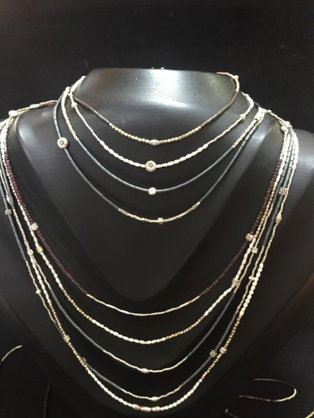 7 Delicate Hematite and Silver Necklaces with Rhodium