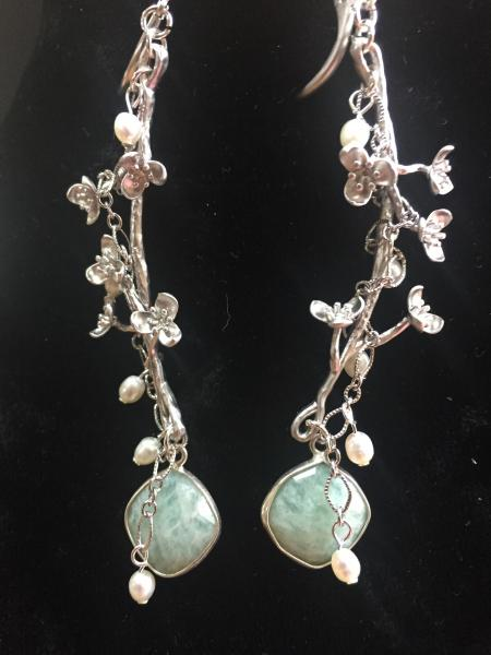 Cherry Blossom with Amazonite Drop Earring