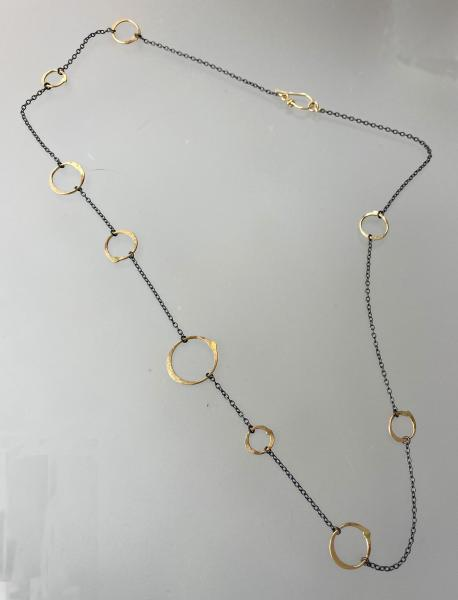 Long Oxidized Silver/floating gold fill circle necklace