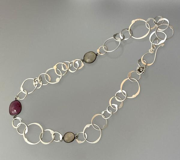 Silver Chain with Sapphire Necklace