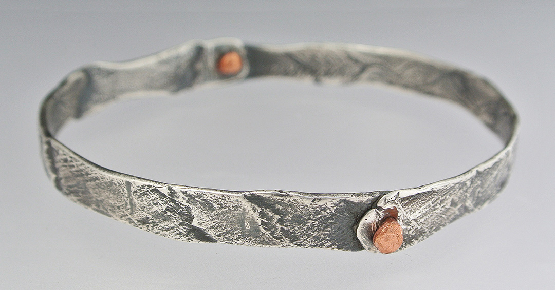 Silver and Copper Bangle Bracelet
