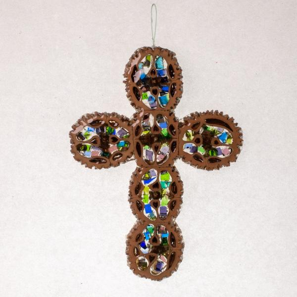 Black walnut shell cross - blue