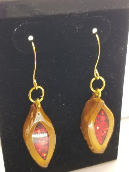 Apricot pit earrings- red