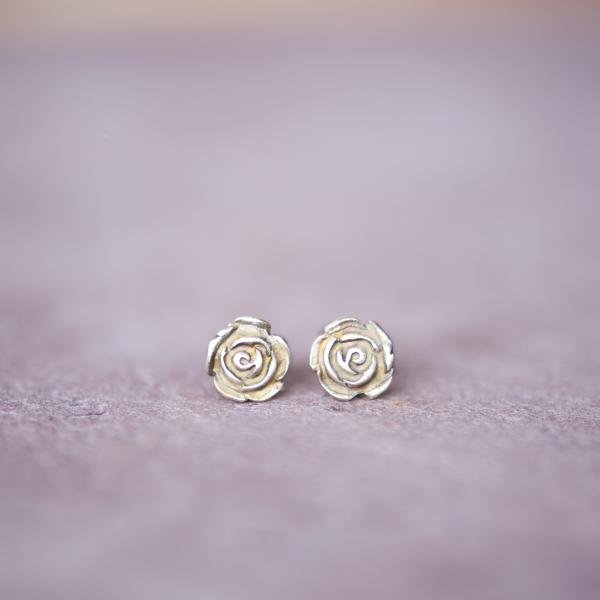 Bronze Rose Stud Earrings