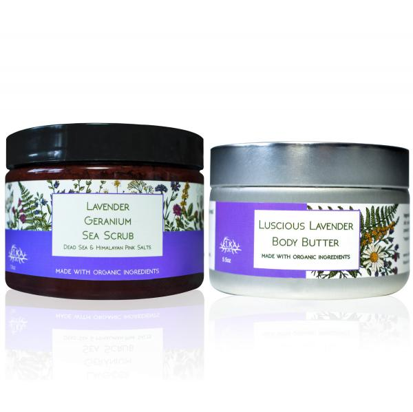 Large Lavender Body Butter & Sea Scrub Set ($75 value)