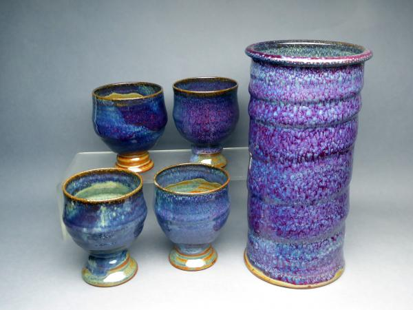 Wine set, purple WB glaze