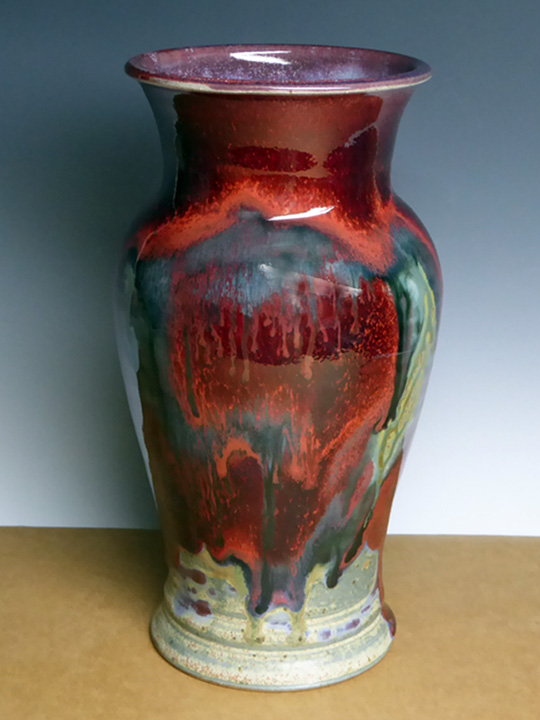 Red multi colored vase