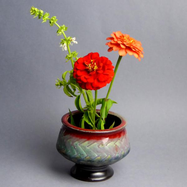 Red and Turquoise Ikebana Vase