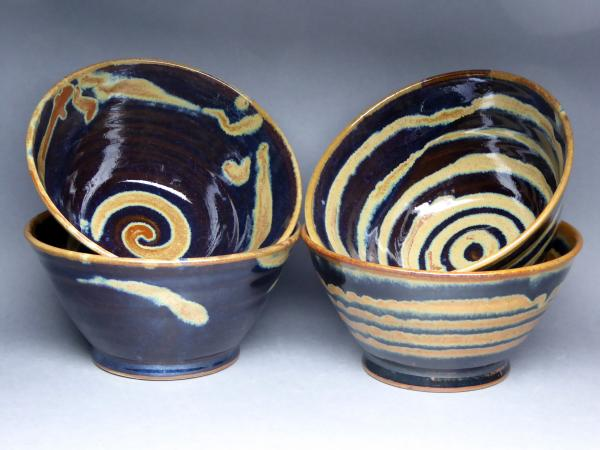 Grey blue and gold rice bowls
