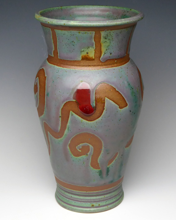 Turquoise mini vase with tan accents