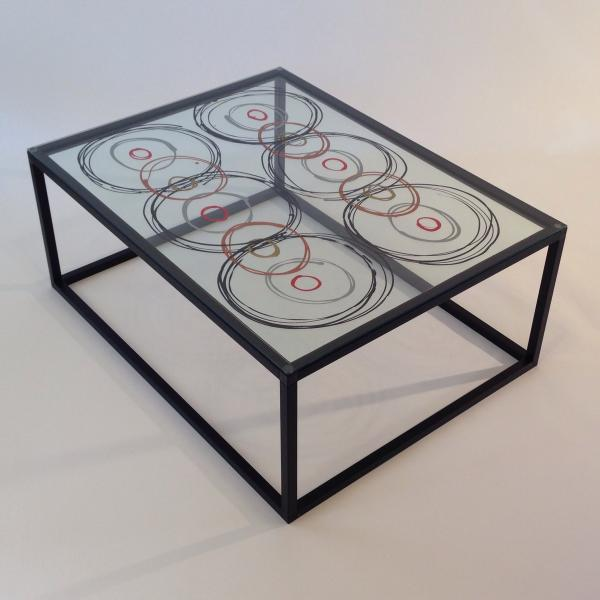 Coffee Table with Circles on Clear