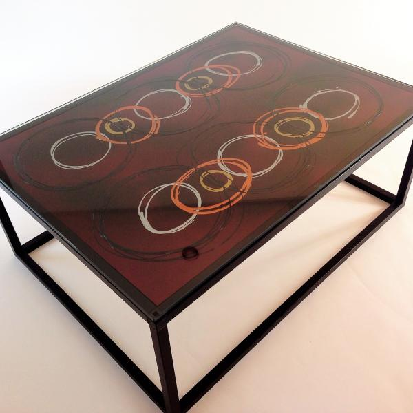 Coffee Table with Circles on Red