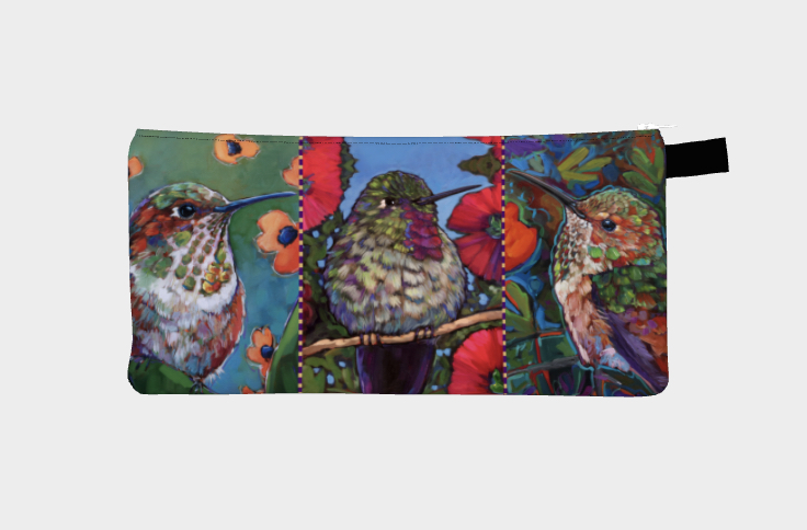 """Hummies with Flowers"" hummingbird pencil case"