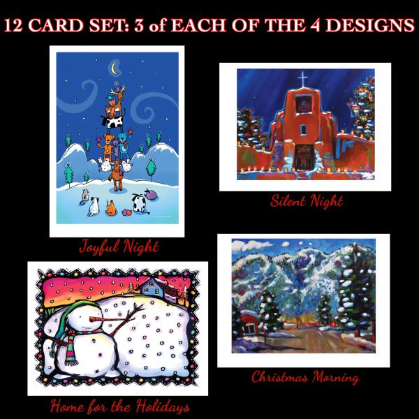12 mixed art card set, 3 each of 4 holiday cards