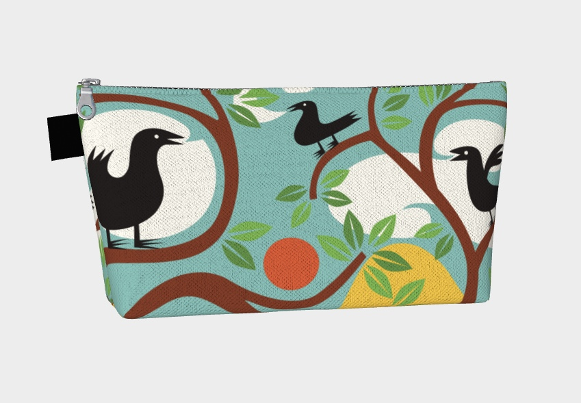 """Three Crows"" makeup bag picture"