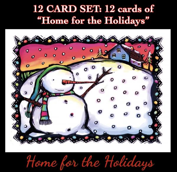 "12 art card set ""Home for the Holidays"", blank inside"