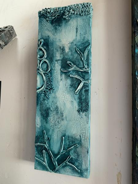 Vertical Reef in Turquoise 10x30""