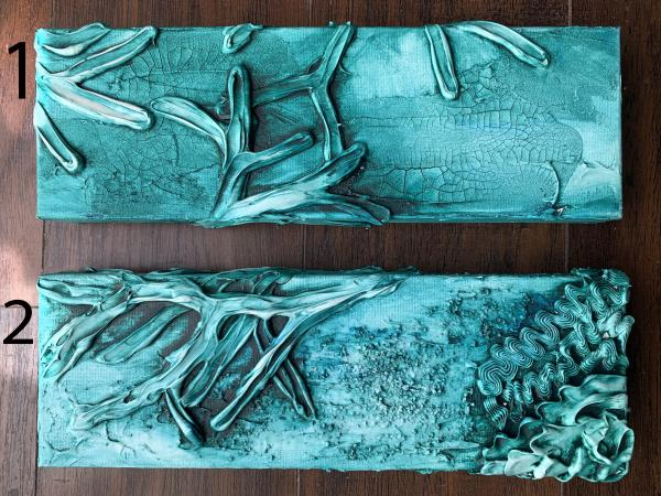 "Small Coral Abstracts 12x6"" Turquoise"