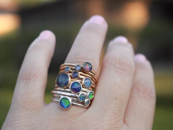 Opal stacking rings-SILVER picture