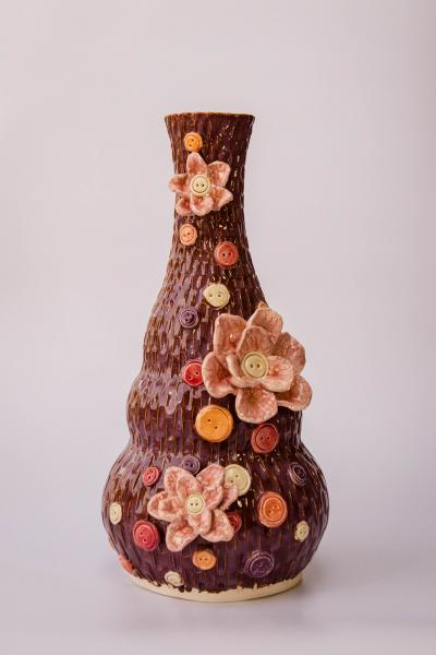 Large Flower and Button Vase
