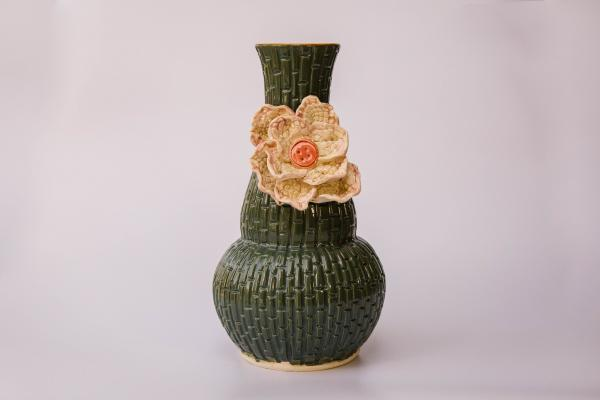 Large Lace and Button Vase