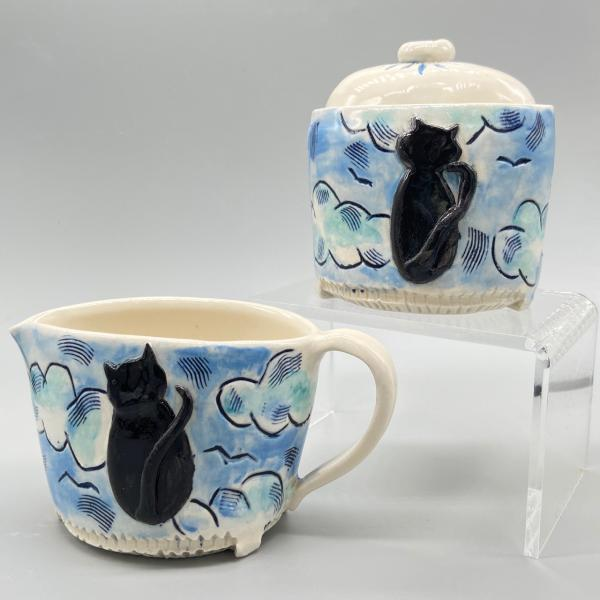 Kitties on a Cloudy Day Sugar Creamer set