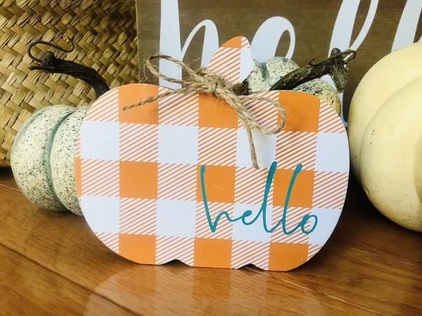 Hello Plaid Pumpkin Wooden Decor
