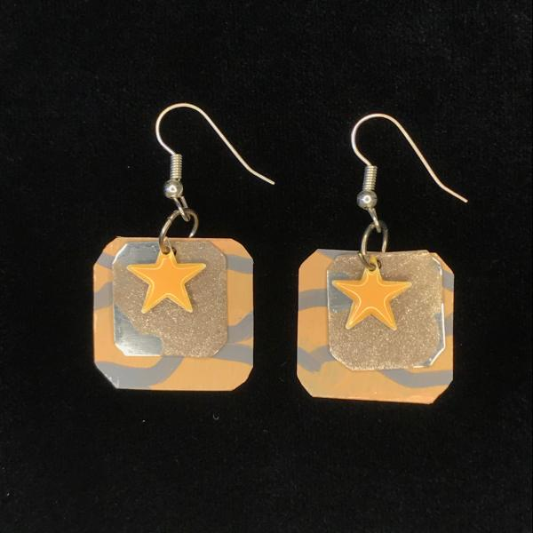 Peach Star Earrings