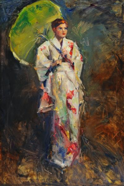 "Green Parasol - 36"" x 24"" - oil on linen picture"