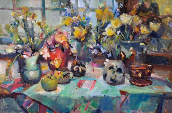 "Spring Blooms, Window Seat - 24"" x 36"" - oil on linen"