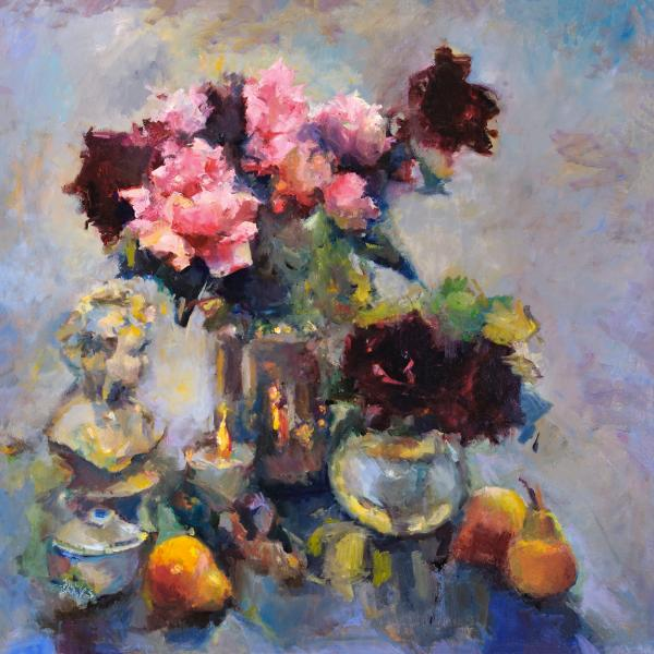 "Peonies and Pears - 30"" x 30"" - oil on linen"