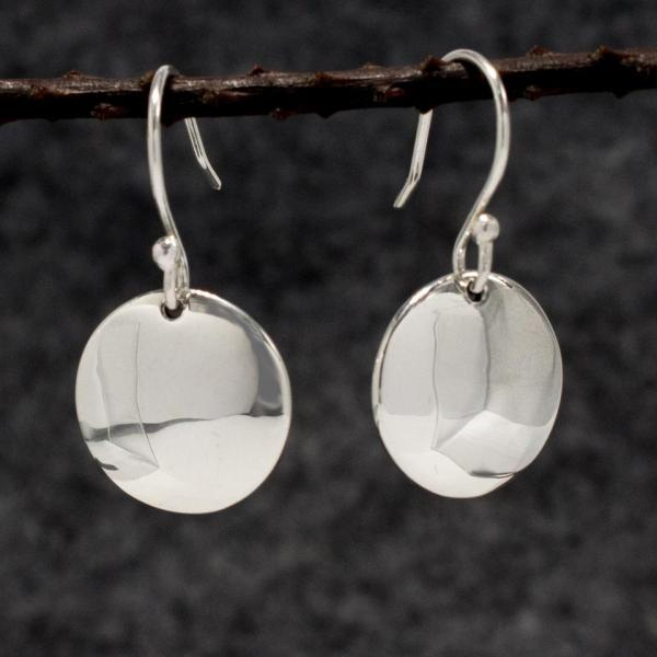 Disc Silver Earrings | High Polished Sterling Silver | French Wire Sterling Silver Earrings