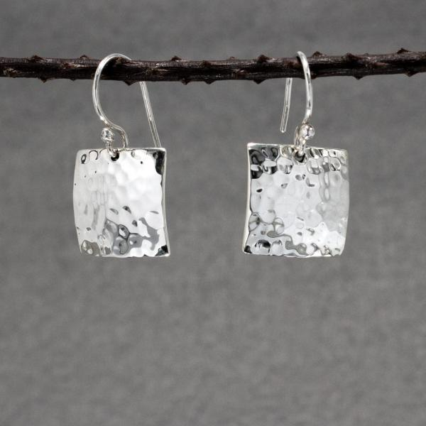 Square Silver Earrings | Hammered Sterling Silver | French Wire Sterling Silver Earrings