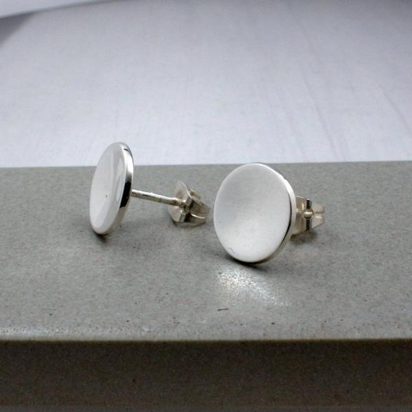 Small Dapped Disc Silver Earrings | High Polished Sterling Silver | Sterling Silver Post Earrings