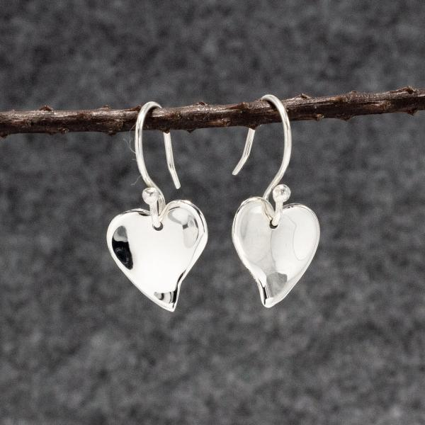 Small Dapped OVE Heart Silver Earrings | High Polished Sterling Silver | French Wire Sterling Silver Earrings