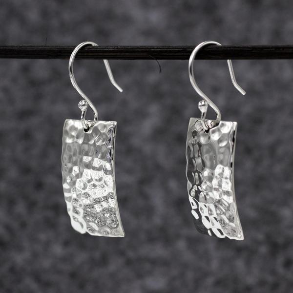 Rectangle Silver Earrings | Hammered Sterling Silver | French Wire Sterling Silver Earrings