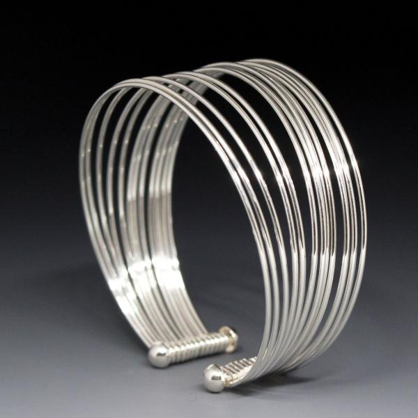 Multi-Wire Sterling Silver Bracelet Cuff | High Polished Sterling Silver