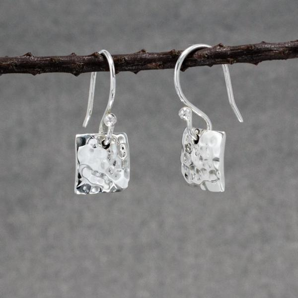 Small Square Silver Earrings | Hammered Sterling Silver | French Wire Sterling Silver Earrings